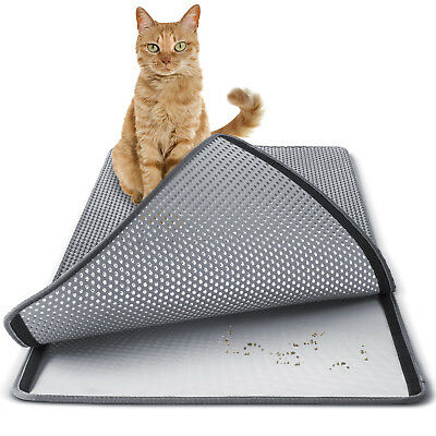 Cat litter Mat - Double Layer Pad - Large Flexible Trapping for Box Pan - Gray