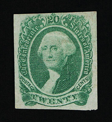 Genuine Confederate Csa Scott #13 Green 20¢ Archer & Daly 1863 Engraved Mint Ng
