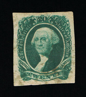 GENUINE CONFEDERATE CSA SCOTT #13b DARK GREEN 20¢ ARCHER & DALY ENGRAVED MINT OG