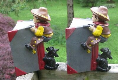 Vintage Scottie Dog  and Cowboy Bookends