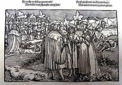 1532 Master of Petrach Hans Weiditz 2 woodcuts - Motherly & Brotherly Love