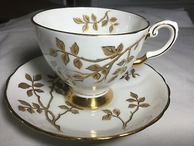 Tuscan Bone China Cup And Saucer England     White/gold