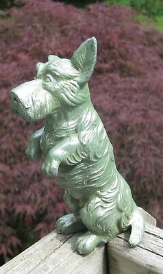 Vintage Green Metal Scottie Dog Standing Up 5 1/2""