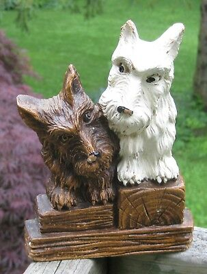 Vintage Wood Pair of  Scottie Dogs  Playing Card Holder