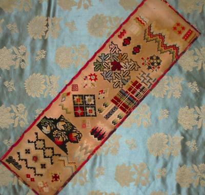 EXQUISITE MID 19th CENTURY VICTORIAN SAMPLER, EDGED WITH ORIGINAL RIBBON