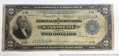 1918 Battleship $2 Two Dollar Federal Reserve Note Kansas Large Bill Currency
