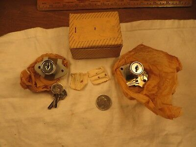 2 Vintage / Antique CORBIN Cabinet Desk Drawer Locks w/ Original Keys & Box  NOS