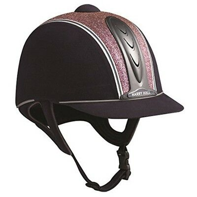 Harry Hall Legend Cosmos Pas015 Adults Riding Hat Navy Blue/pink 56cm