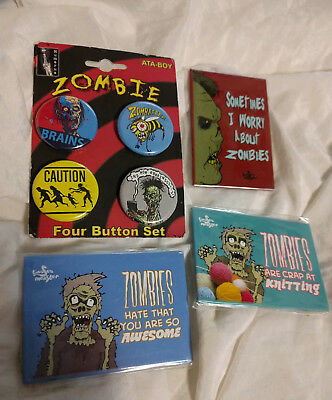 NEW Lot of Zombies Zombie Pins/Buttons and Magnets Items