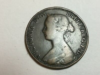 GREAT BRITAIN 1873 1/2 Penny coin circulated, rev. Scratch