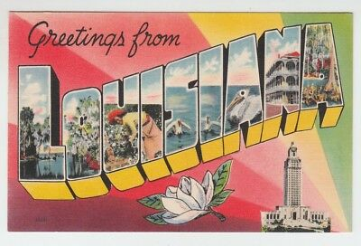 [36414] OLD LARGE LETTER POSTCARD GREETINGS from LOUISIANA
