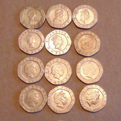 Lot of 12 Circulated, Assorted 20 Pence British Coins