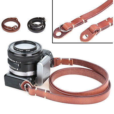Cowhide Leather Camera Shoulder Neck Strap with Pad for Canon Nikon Sony DSLR
