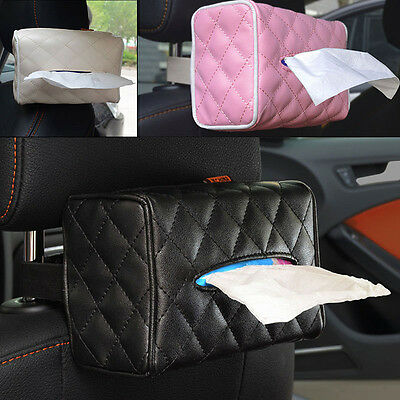 Car Seat Back Cover Holder PU Leather Paper Napkin Pumping Paper Box Tissue Box