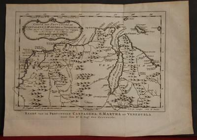 Venezuela & Colombia 1754 Bellin/van Schley Antique Original Copper Engraved Map