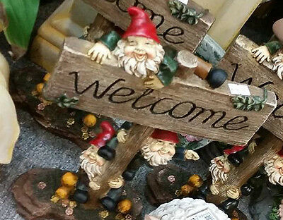 Garden Gnome On Welcome Sign - Resin Home Or Garden Decor Statue Ornament