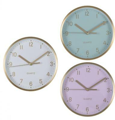 Round 16cm Quartz Wall Hanging Clock with Gold Effect Frame