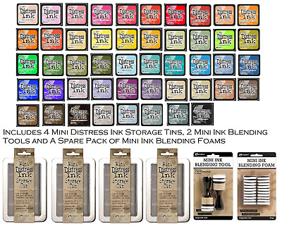 Tim Holtz Ranger Distress Ink Mini Pads x 48 with Tins, Blending Tools & Foams