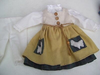 Alte Puppenkleidung Shepherds Dress Outfit vintage Doll clothes 40 cm Girl