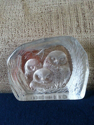 Lead Crystal Owl Paperweight Capredoni By Dartington
