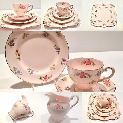 China CAKE PLATE  Tuscan pink flowers Afternoon tea party china