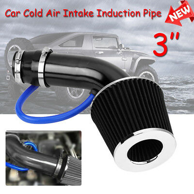 """3/"""" Universal Car Cold Air Intake Filter Alumimum Induction Kit Pipe Hose System"""