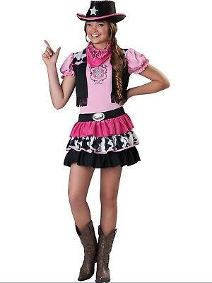 ragazze ANZIANI TEENAGER GIDDY UP GIRL Cowboy & Cappello Costume 4-14 Anni