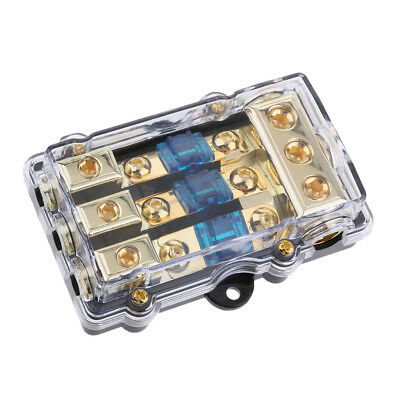 3 Way Power Distribution Block 4/8 AWG Gauge AGU Fuse Holder 60Amp(3in 1out)