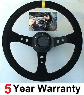 Drift Suede Steering Wheel And Snap Off Quick Release Boss Kit Hub Fit Bmw E36