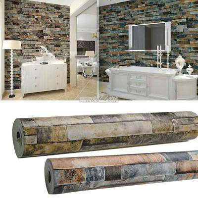 10M Stacked Brick/Stone Pattern Vinyl Wallpaper Wall Paper  Roll 3D Realistic