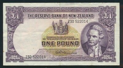 "New Zealand: 1960 LAST ISSUE £1 Fleming ""WITH SECURITY THREAD"". VF Cat $45"