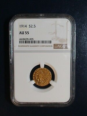 1914 2.5 Dollar GOLD INDIAN HEAD NGC AU55 ABOUT UNC $2 1/2 Coin PRICED TO SELL !