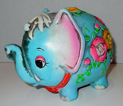 Vtg Groovy Psychedelic Turquoise Elephant Chalkware Piggy Bank 1968 Holiday Fair