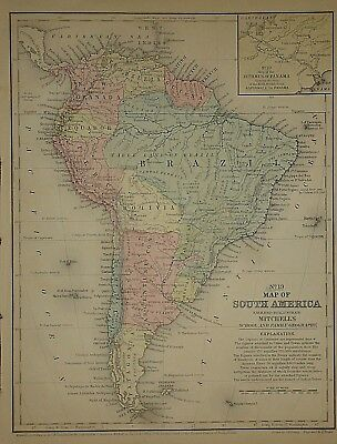 Vintage 1858 SOUTH AMERICA MAP ~ Old Antique Authentic Atlas Map 62218