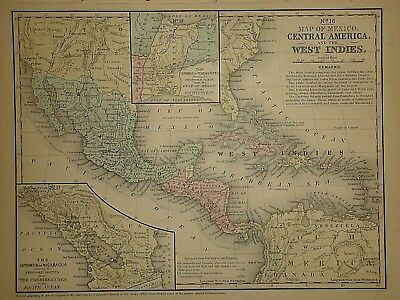 Vintage 1852 CENTRAL AMERICA - MEXICO MAP ~Old Antique Authentic Atlas Map 62218