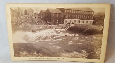 1892 Cabinet Card Photo Across Falls Of Black River, Watertown NY  NO Reserve