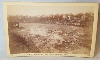 1892 Cabinet Card Photo Watertown NY  From River St Looking Downstream NO Res