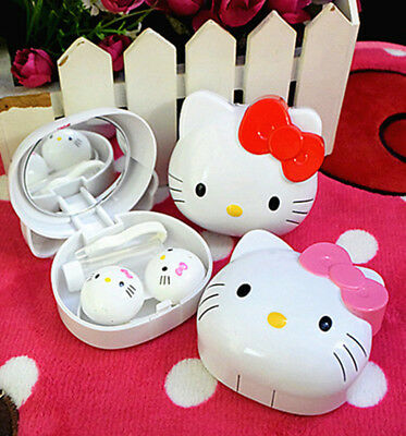 New Cute HelloKitty Design Contact Lens Case Soak Storage Cosmetic Box AA-321E