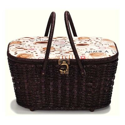 NEW | Prym 612278 Coffee Print Sewing Basket | 35.5 x 27 x 17cm | FREE SHIPPING
