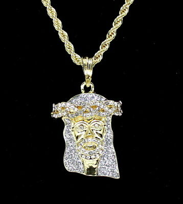 """14k Gold Plated Jesus Piece Iced Out Cz Pendant 20"""" Rope Chain Hip Hop Necklace"""