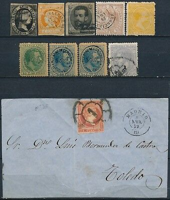 Spain, Classic Unchecked Lot Of Diff. Mint & Used Stamps + Front Of Cover #d1410