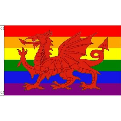 5ft x 3ft Rainbow Welsh Dragon Flag - Gay Pride March 5ft With Metal Eyelets