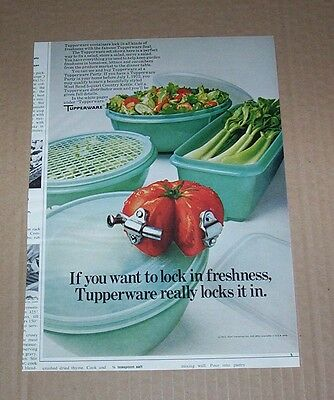 1972 advertising - Tupperware containers Lock in freshness tomato salad PRINT AD