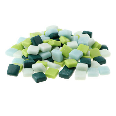 110x Mixed Green Square Glass Mosaic Tile Vitreous for Art DIY Craft 12x12mm
