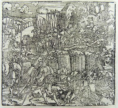 1532 Hans Weiditz - Master Woodcut - SIEGE WARFARE BATTLE