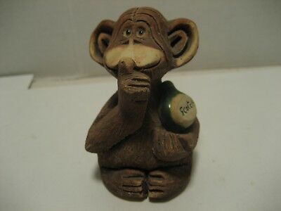 Hand Carved Monkey w/Scotch Bottle signed by artist