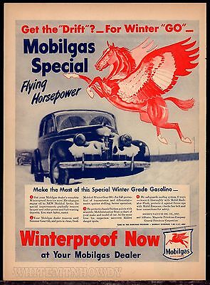 1946 MOBIL Flying Red Horse AD Mobilgas for Winter Go