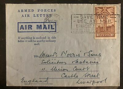 1945 Montreal Canada Armed Forces Air Letter Cover To Liverpool England