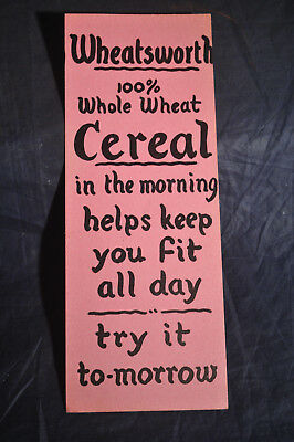 1950s Wheatsworth Whole Wheat Cereal Advertising Cardboard NABISCO