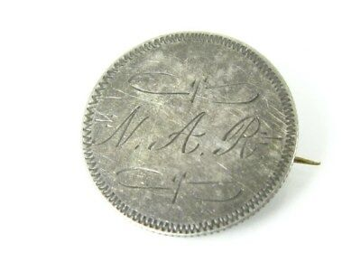 United States Silver 1856 Seated Liberty Quarter Coin Love Token Pin Brooch 5.6g